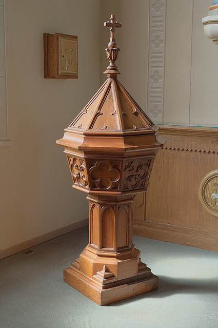 Church of the Risen Savior (Saint Joseph), in Rhineland, Missouri, USA - Baptismal font