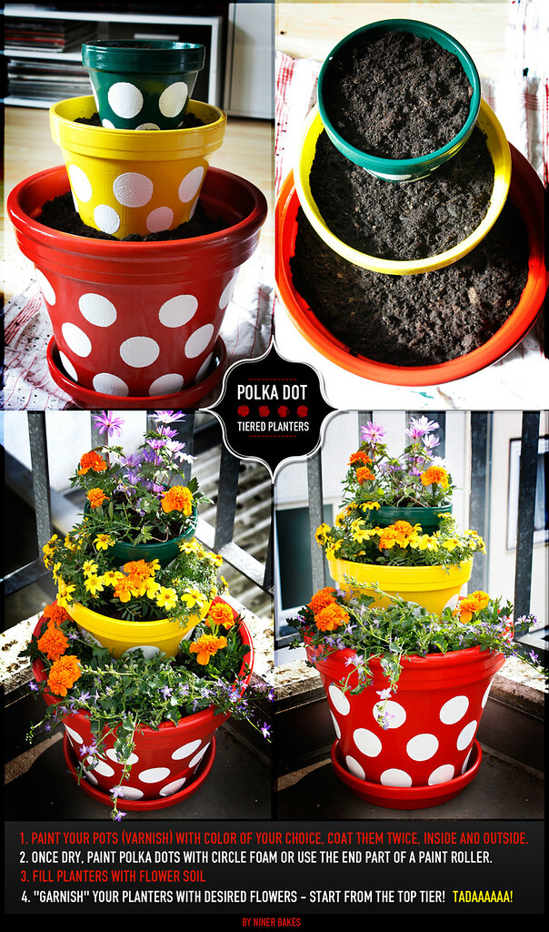 DIY - Polka Dot Tiered Planters