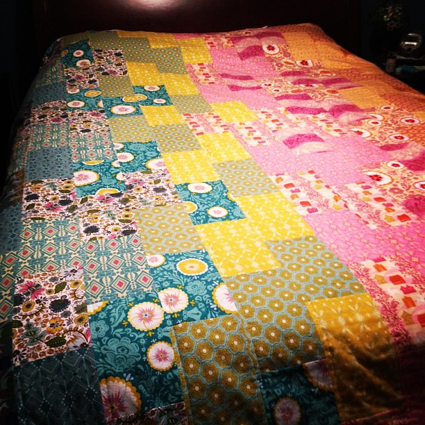 His and Hers AMH flannel quilt done (except for almost 400 yards of binding!)