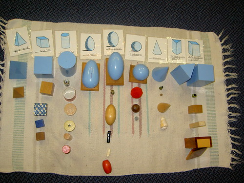 Geometric Solids Objects (Photo from Inspired Montessori and Arts at Dundee Montessori)