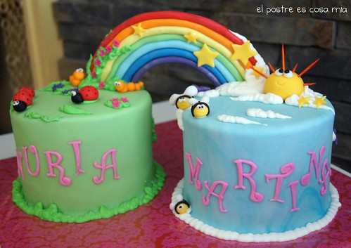 tarta doble arcoiris