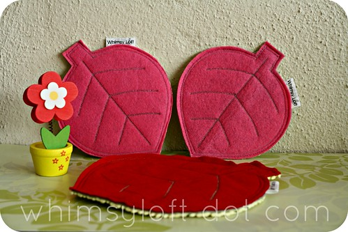 Leaf felt COASTERS non slip Pink Red