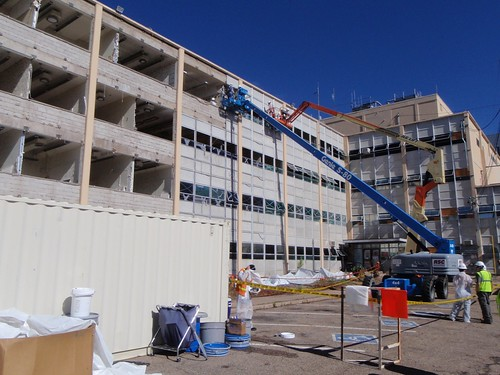 Administration Building exterior demolition