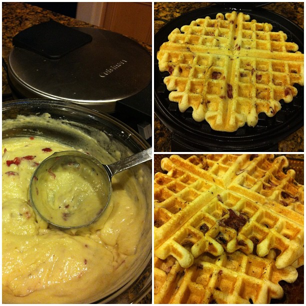 Getting to know my waffle iron again. Cinnamon rolls last week & orange cranberry muffin mix this week!