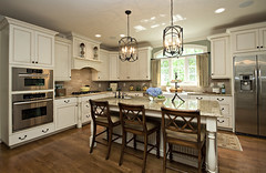 Driggs Designs: Beautiful Kitchen With Granite, Center Island, and Built In Seating.