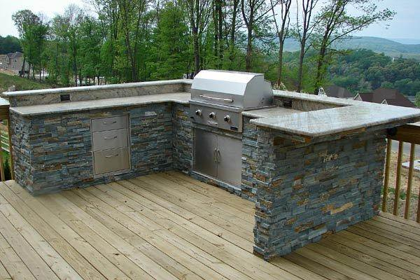 Outdoor Kitchen With Wood Deck