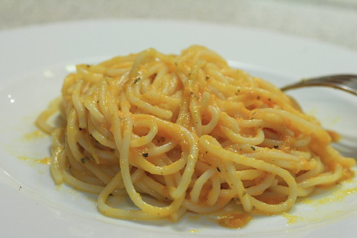 spaghetti with special tomato sauce