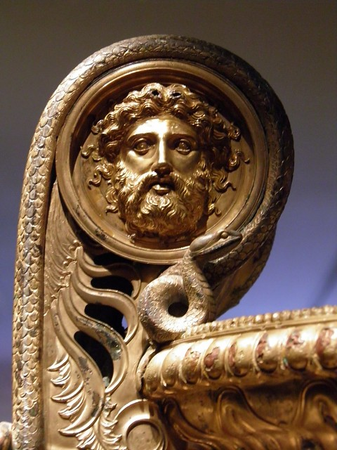 The Derveni krater, late 4th century B.C., Snake framing the rising handle and wrapping their bodies around a mask of an underworld deity, Archaeological Museum, Thessaloniki, Greece