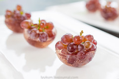 Champagne grapes in rose champagne