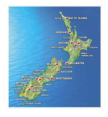 mapa Nova Zelandia