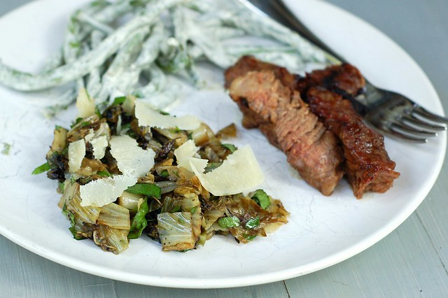 Green beans with lemon basil aioli, club steak and grilled radicchio salad with herbs & balsamic by Eve Fox, Garden of Eating blog, copyright 2012