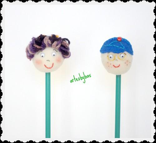 Ponteiras de lápis menina e menino by artesbybax - Carmen
