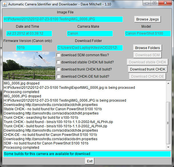 ACID (Automatic Camera Identifier and Downloader) Screen Capture