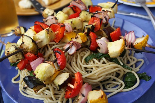 Grilled Vegetable Skewers Over Spaghetti with Beet Greens and Garlic