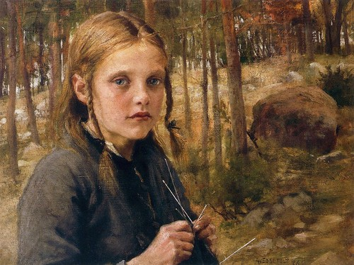 Edelfelt, Albert (1854-1905) - 1886 A Girl Knitting Socks by RasMarley