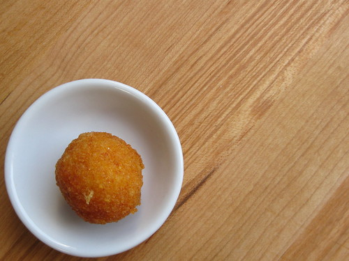 going: polenta arancini with piave and nduja