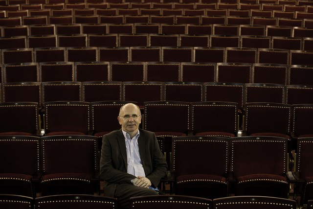Duncan Hendry, Chief Executive of FCTT, gets comfy in the new seats in the King's. Photo © Peter Dibdin
