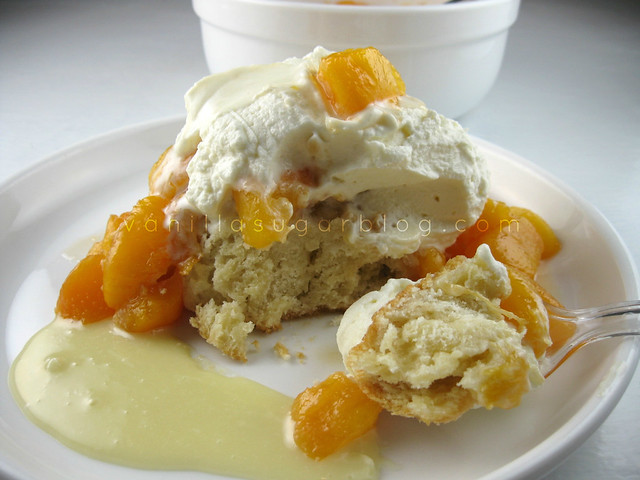 peach shortcake with white chocolate infused whipped cream
