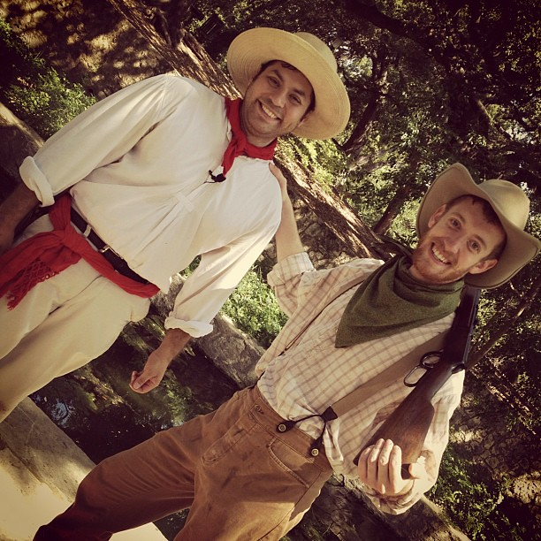 Robert and Drew put on a fun performance as the vaquero and cowboy this morning! #wittemuseum #sthcwitte #samoms