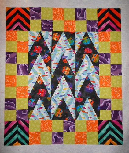 Chevron Cats Quilt Top for a Kitty
