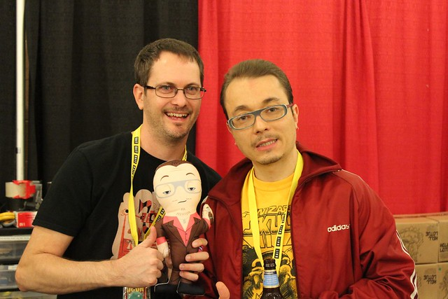 Gary Ham with his design for the Sucklord Talking Plush and the Sucklord himself