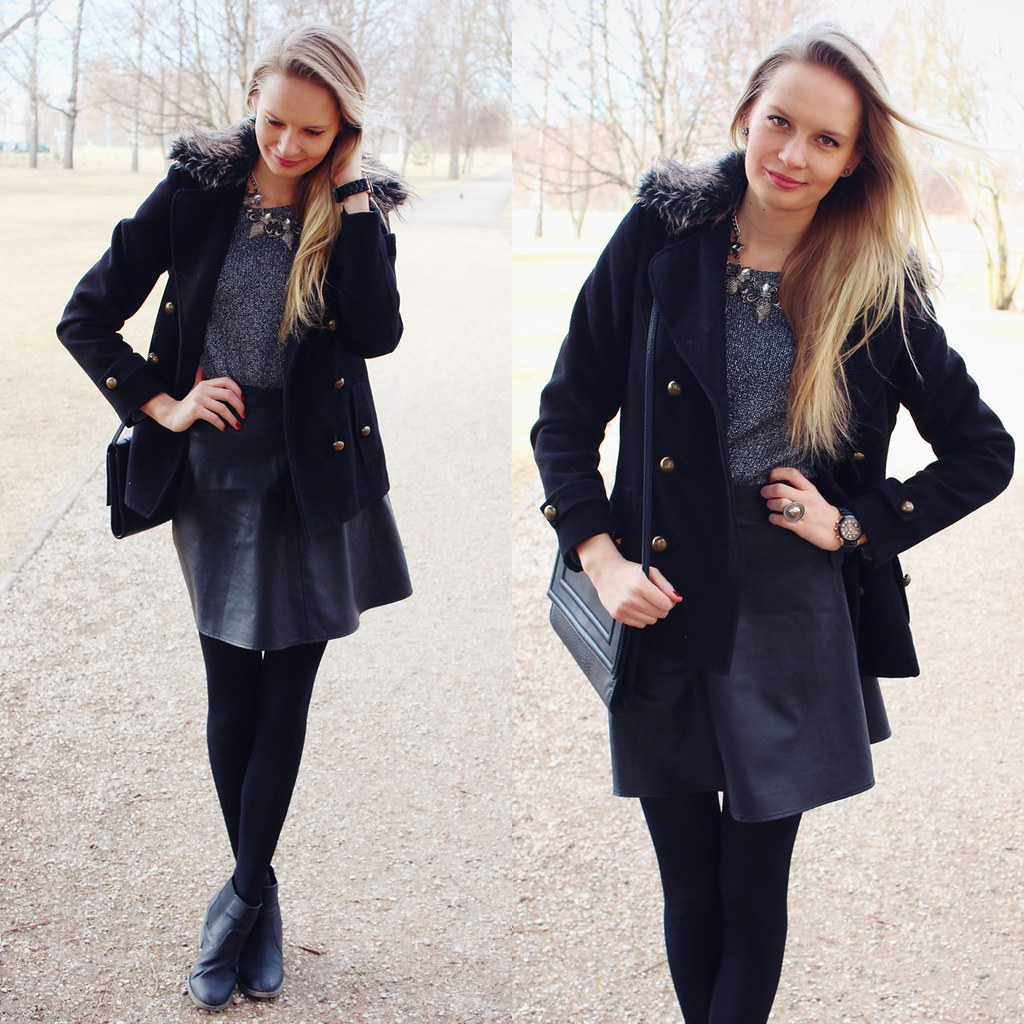 Newest outft on Call me Maddie- I am wearing a grey silver sweater from H&M, medieval type of necklace, black leather skirt from H&M, black geneva silicone wacth, black chelsea type ankle boots from H&M