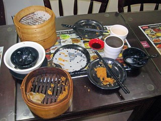 Empty dishes at Dim Sum Square. We ate everything.