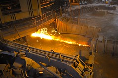 Molten iron from the blast furnace