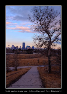 Walking path with downtown skyline, Calgary, Alberta