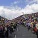 A typical crowd along the Tour de France route. Each Tour stage can have 10M or more fans along the road way.  Photo by Dimension Data