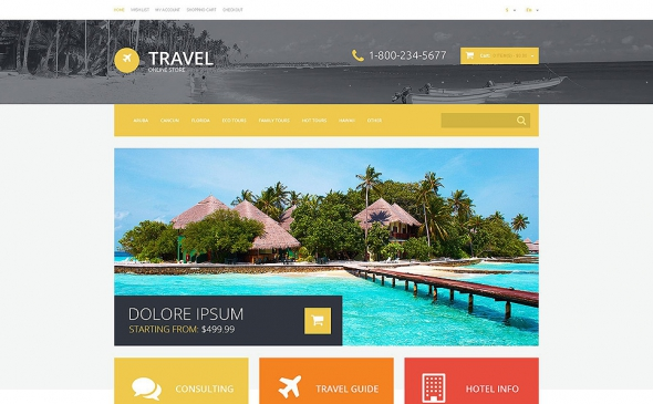 Travel Agency - Responsive OpenCart 2.0.1.1 Template
