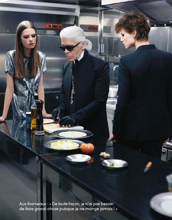 The Real Life of Karl Lagerfeld - Elle France, March 2012 - Karl Lagerfeld, Saskia de Brauw and Caroline Brasch Nielsen by Karl Lagerfeld