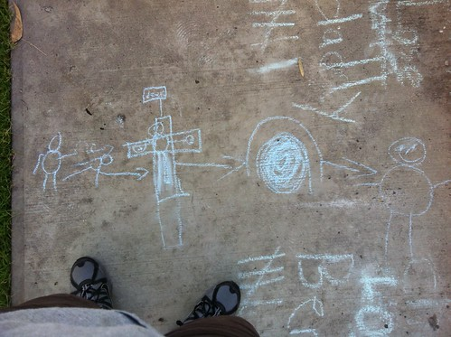 Nathan's contribution to the Jesus story. A work in chalk.