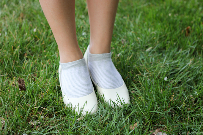 socks with white heels