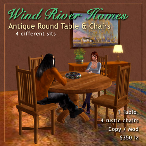 Antique Round Table & Chairs by Teal Freenote