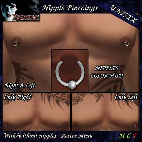 *P* Rings Nipple Piercings ~Unisex~ Silver