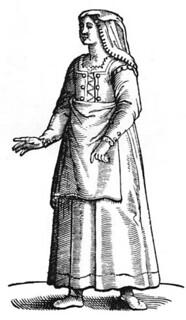 Cesare Vecellio: Peasant woman of the Roman countryside, 1590 De gli Habiti antichi et moderni di Diverse Parti del Mondo