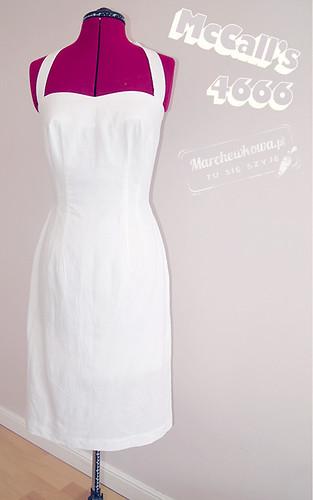 marchewkowa, blog, szafiarka, szycie, krawiectwo, retro, vintage wykrój, McCall's 4666, len, Piegatex, letnia sukienka, pin-up, 50s