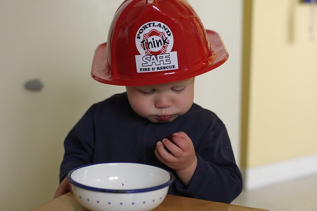 Cherry eating firefighter