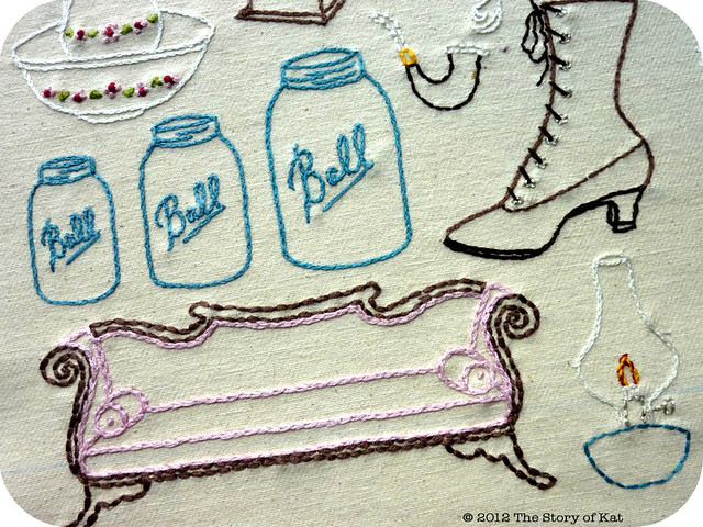 """Antique Shop"" Embroidery Pattern, detail"