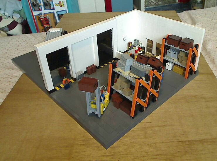 Inside overview of a LEGO® model of a warehouse