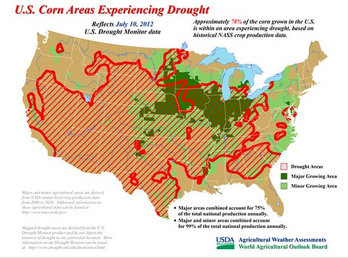U.S. Corn Areas Experiencing Drought. Reflects July 10, 2012 U.S.