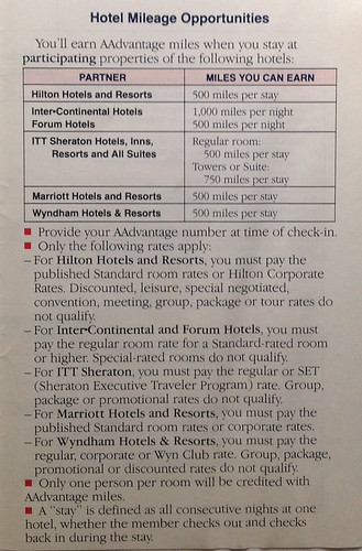 1990 American Airlines AAdvantage Guide - Hotels