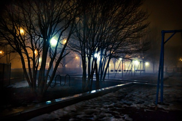 Park with Fog at Night