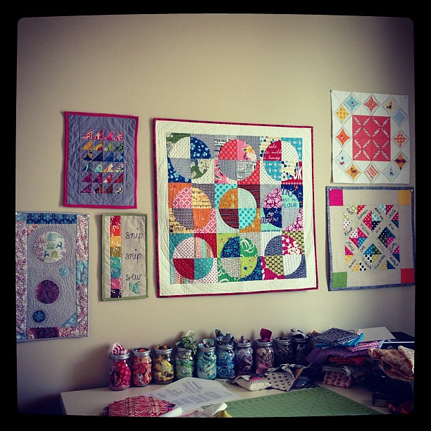 Hung up a couple more of my mini quilts!
