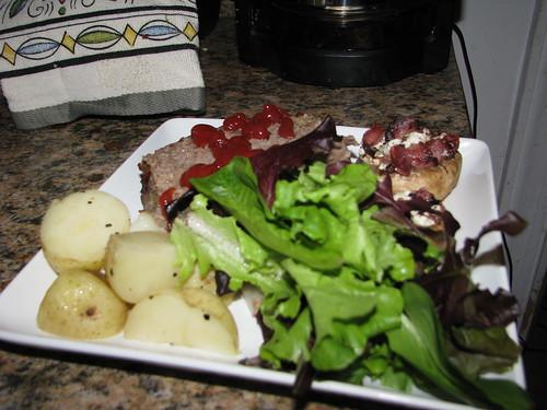 Meatloaf, Stuffed Mushrooms, Boiled Potatoes, Spring Salad