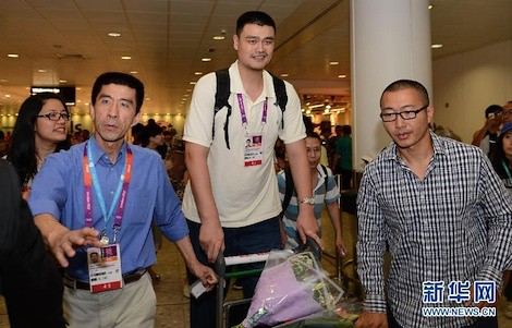 July 25th, 2012 - Yao Ming arrives in London for the 2012 Olympics as an announcer for Chinese CCTV5