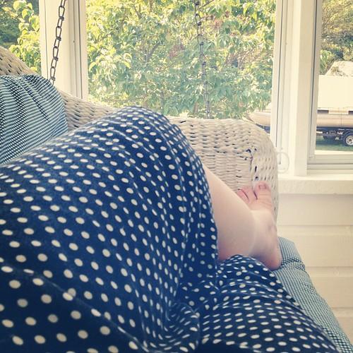 Pajamas (still) and porch swing