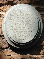 Photo of Isaac Newton stone plaque