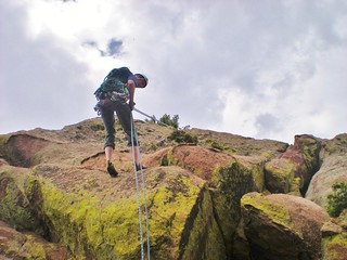 Jeffrey Rappeling South End of Swanson's Arete